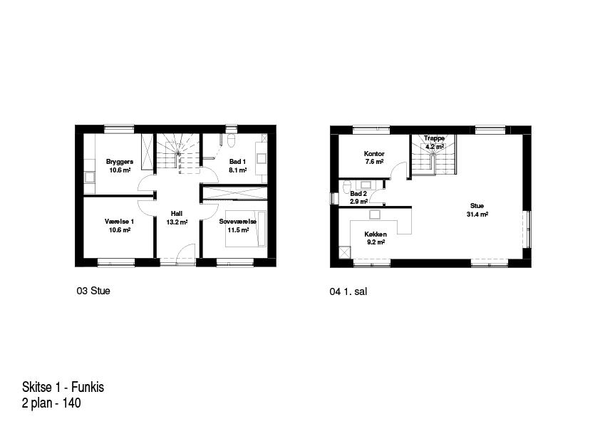 2-plans hus FBA Huse 140 kvm plantegning