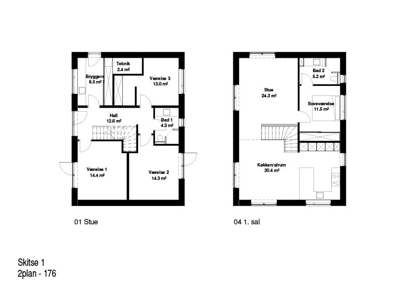 2-plans hus FBA Huse 176 kvm plantegning