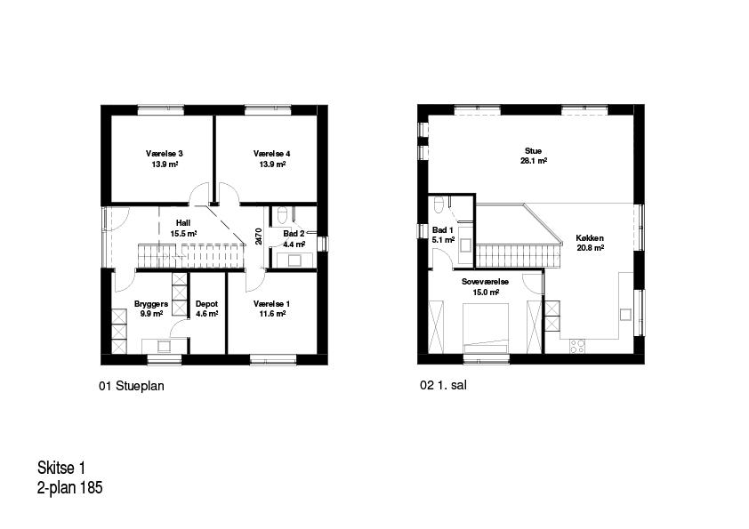 2-plans hus FBA Huse 185 kvm plantegning
