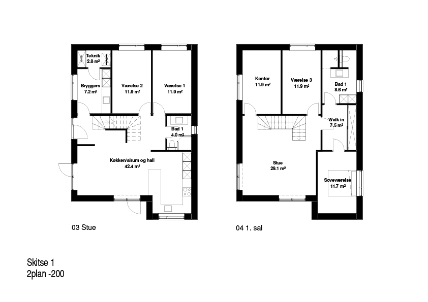 2-plans hus FBA Huse 200 kvm plantegning