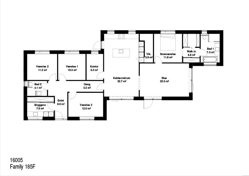 Family 185 kvm FBA Huse plantegning.