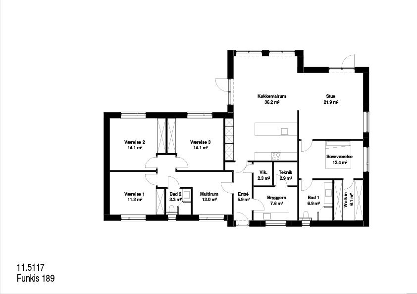 Funkis FBA hus 189kvm plantegning